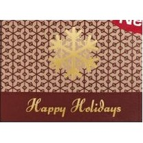 Happy Holidays Snowflake Burgundy & Gold Holiday Greeting Card (5