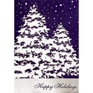 Snow Covered Trees Happy Holidays Greeting Card (5