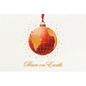 Raised Relief Globe Ornament Holiday Greeting Card (5